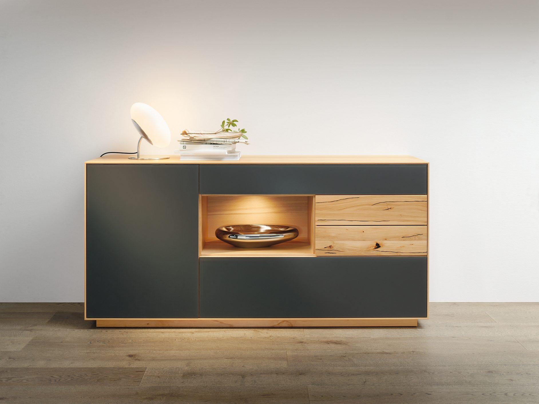 Sideboard Puro mit Glas in Wildkernbuche