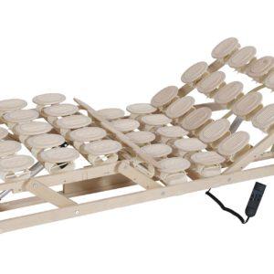 Schlafsystem Relax 2000 mit individueller Körperanpassung durch tellerförmige Federkörper aus Zirbenholz oder Buche. Motorrahmen.