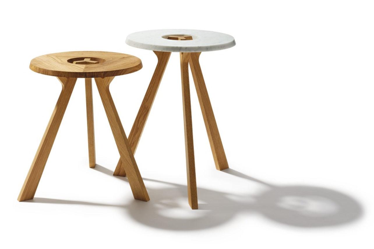 Beistelltisch Treeo in Eiche geölt, Treeo mit Tischplatte Marmor