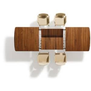 Auszugstechnik von Tisch Flaye. Tisch Flaye in Nussbaum mit Auszug.