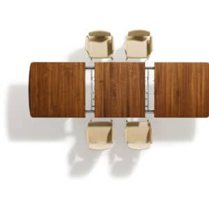 Auszugstechnik von Tisch Flaye. Tisch Flaye in Nussbaum mit Stuhl Flaye.