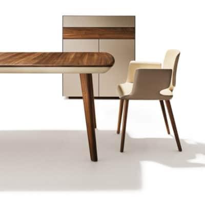 Tisch Flaye und Stuhl Aye in Nussbaum, Zarge in Leder.