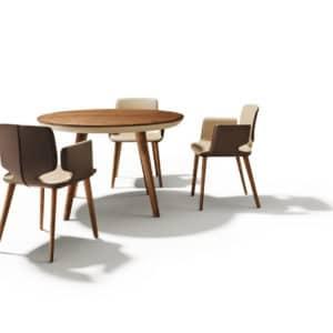 Tisch Flaye in rund in Nussbaum geölt ohne Auszug.