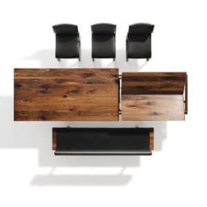 Nox Tisch mit Metallkufen in Nussbaum wild mit Nox Bank. Auszugsmechanismus des Tisch Nox in Nussbaum wild (1).