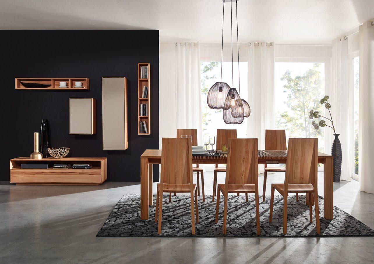 Rechteckiger Massivholztisch mit Ziehharmonika-Auszug LignumArts T05, Kernbuche