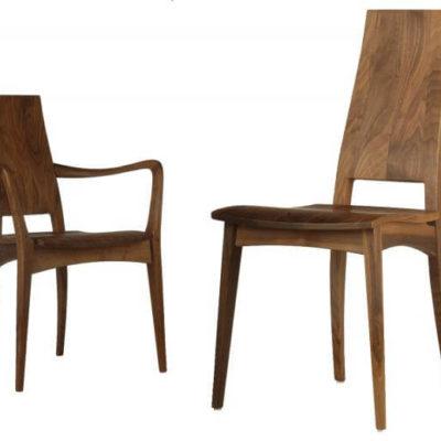 Massivholzstühle Julia 1 mit Holzsitz, Ausführung in Nussbaum mit und ohne Armlehne