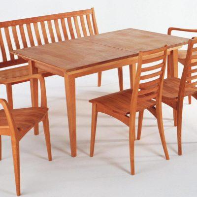 Massivholzstühle aus Buche Julia 3 mit Quersprossen, Bank Julia 3