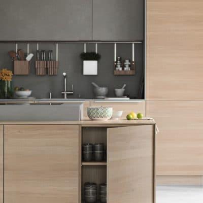 Küche mit Arbeitsinsel Filigno in Eiche geölt.