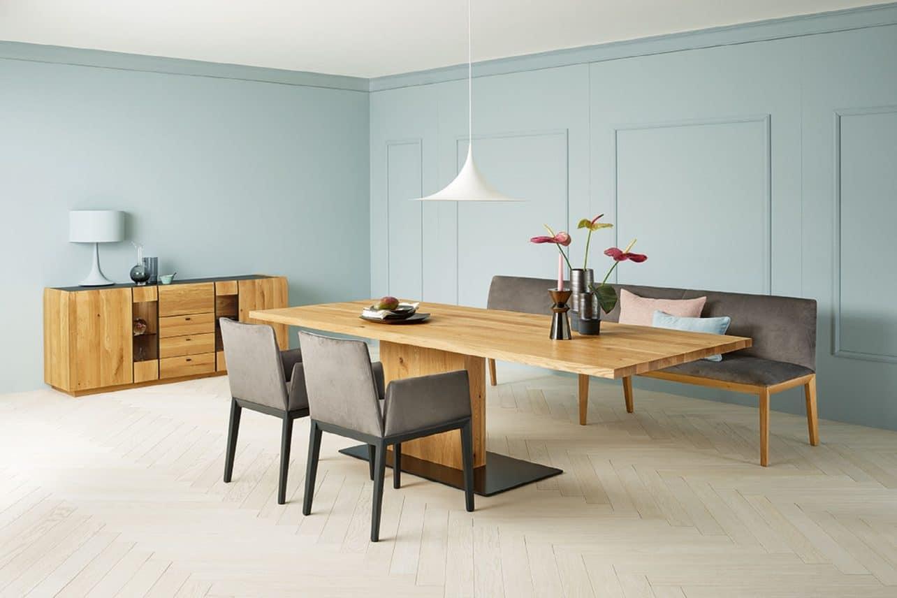 Speisezimmer Cava mit ausziehbarem Säulentisch in Asteiche gebürstet natur geölt,Cava Sideboard in Asteiche gebürstet natur geölt, Stühle 741