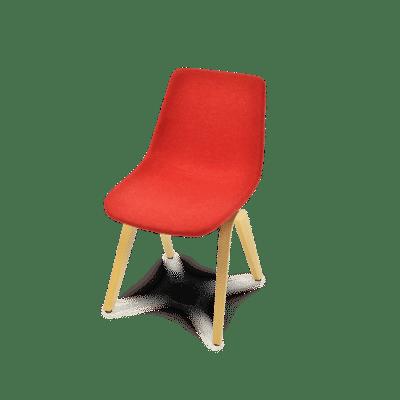 ergonomischer Esszimmerstuhl M41 in rotem Wollstoff, ohne Armlehnen
