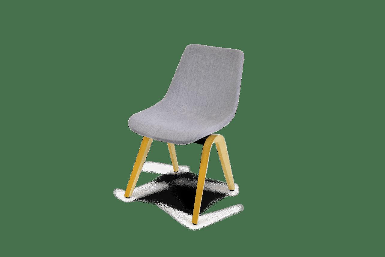 ergonomischer Esszimmerstuhl M41 in grauem Wollstoff, ohne Armlehnen