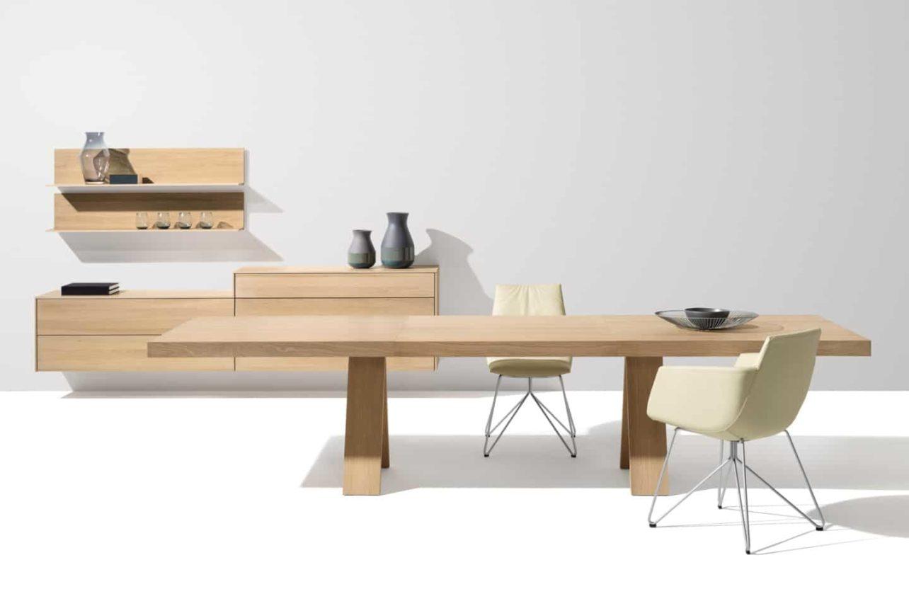 Auszugstisch Tisch Tema von Team7 mit verlängerter Tischplatte, Eiche weiß geölt